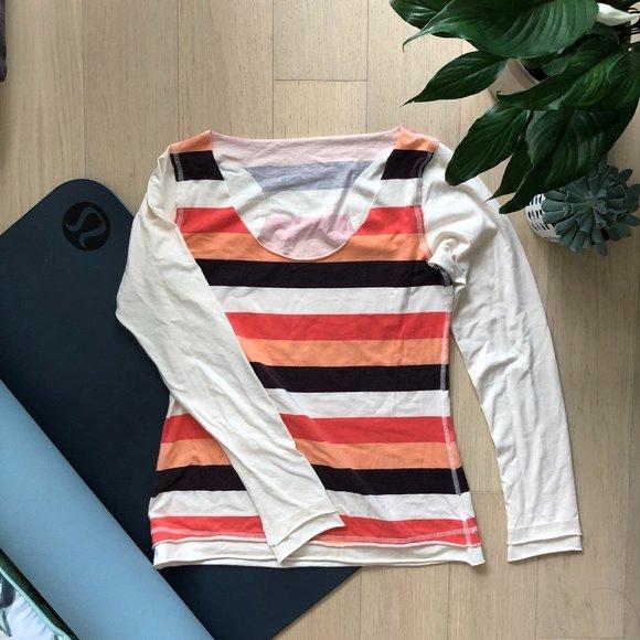Lululemon Orange Striped Long Sleeve